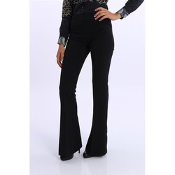 Abbigliamento Donna Pantaloni White.7 PANTALONI A ZAMPA  CON NERO ZIP LATERALE Black