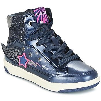 Scarpe Bambina Sneakers alte Geox J CREAMY A Marine / Rosa