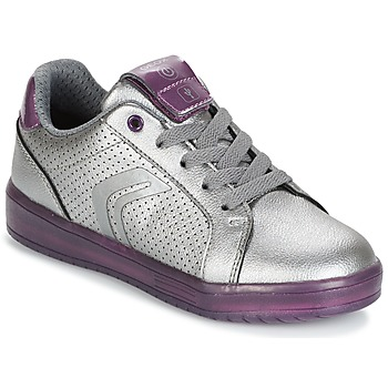 Scarpe Bambina Sneakers basse Geox J KOMMODOR G.A Argento / Prune