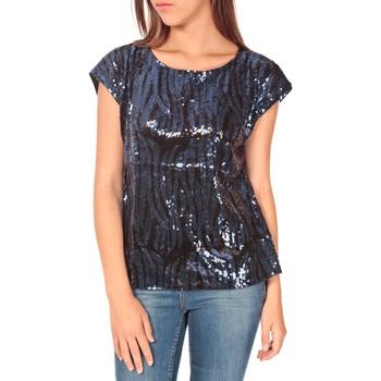 Abbigliamento Donna T-shirt maniche corte Tcqb Top 23171 paillettes Julie GG Noir/Bleu Nero