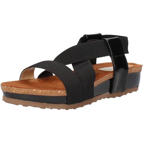 Olga Rubini scarpe donna sandali nero tessuto vernice AF792 nero - Scarpe Sandali Donna 29,00
