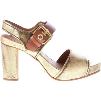Scarpe Donna Sandali Car Shoe Sandalo con fibbia alla caviglia in pelle ORO anticato oro