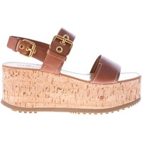 Scarpe Donna Sandali Car Shoe Sandalo in pelle brandy con fibbie dorate e zeppa in sughero marrone