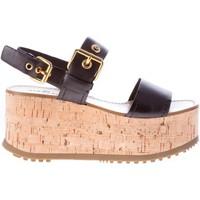 Scarpe Donna Sandali Car Shoe Sandalo in pelle nero con fibbie dorate e zeppa in sughero nero