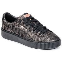 Scarpe Donna Sneakers basse Puma Basket Platform Bi Color Nero / Rosa