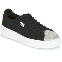 Scarpe Donna Sneakers basse Puma SUEDE PLATFORM GLAM JR Nero / Argento