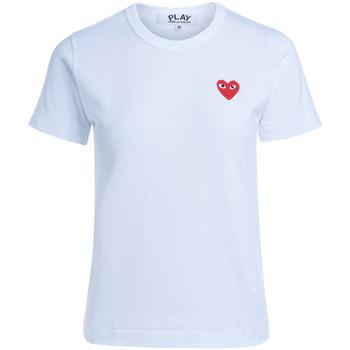 Abbigliamento Donna T-shirt maniche corte Comme Des Garcons T-shirt da donna bianca cuore rosso Bianco