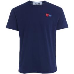 Abbigliamento Uomo T-shirt & Polo Comme Des Garcons T-Shirt  blu con doppio cuore Blu