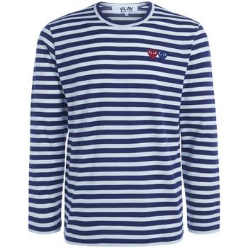 Abbigliamento Uomo T-shirts a maniche lunghe Comme Des Garcons Maglia  a righe con doppio cuore Blu