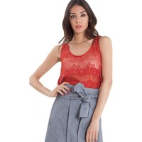 Abbigliamento Donna Top / Blusa Rue Bisquit Top light lace red