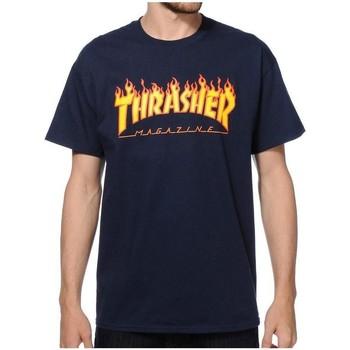 Abbigliamento Uomo T-shirt maniche corte Thrasher CAMISETA  FLAME LOGO AZUL HOMBRE Blue
