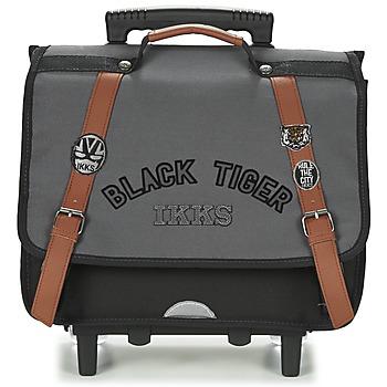 Borse Bambino Borse / Cartelle con rotelle Ikks BLACK TIGER CARTABLE TROLLEY 38CM Grigio / Nero