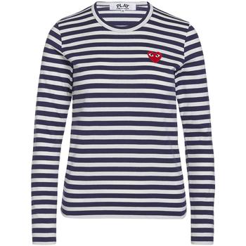 Abbigliamento Donna T-shirt & Polo Comme Des Garcons T-shirt  blu con righe bianche Blu