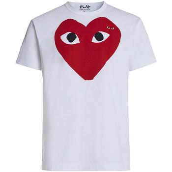 Abbigliamento Uomo T-shirt maniche corte Comme Des Garcons T-shirt bianca con cuore rosso occhi neri Bianco