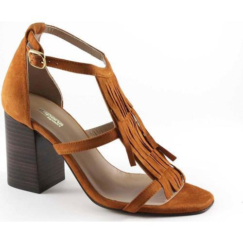 Sapena 32717 cuero cuoio sandali donna tacco camoscio frangia fibbia Marrone Scarpe Sandali Donna 92,00