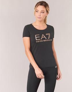 Abbigliamento Donna T-shirt maniche corte Emporio Armani EA7 TRAIN LOGO SERIES GLITTER Nero / Dore / Rosa