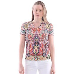 Abbigliamento Donna T-shirt maniche corte Etro T-SHIRT  IN COTONE E SCOLLO A V Multicoloured