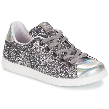 Scarpe Bambina Sneakers basse Victoria DEPORTIVO BASKET GLITTER KID Argento
