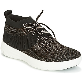 Scarpe Donna Sneakers alte FitFlop UBERKNIT SLIP-ON HIGH TOP SNEAKER Nero / Bronzo