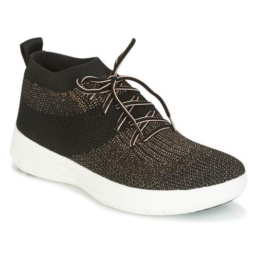 FitFlop UBERKNIT SLIP-ON HIGH TOP SNEAKER Nero Sneakers / Bronzo  Scarpe Sneakers Nero alte Donna 119 efc423