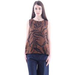 Abbigliamento Donna Top / Blusa Altea TOP  OVER IN COTONE MARRONE E STAMPA BLU Brown
