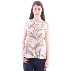 Abbigliamento Donna Top / Blusa Altea TOP  OVER IN COTONE BEIGE E STAMPA MARRONE Beige