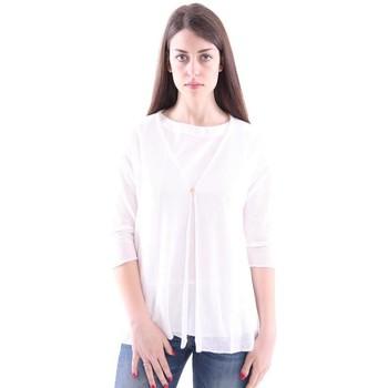 Abbigliamento Donna Gilet / Cardigan White.7 CARDIGAN  IN MISTO LINO BIANCO White