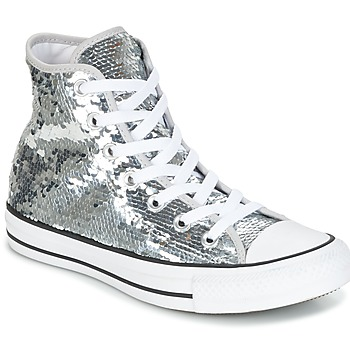 Scarpe Donna Sneakers alte Converse CHUCK TAYLOR ALL STAR SEQUINS HI SILVER/WHITE/BLACK Argento