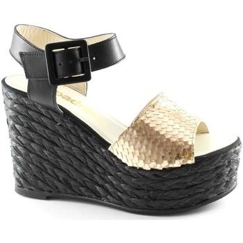 Scarpe Donna Sandali Espadrilles FACE oro nero sandali donna pelle zeppa corda fibbia Oro