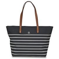 Borse Donna Tote bag / Borsa shopping Lauren Ralph Lauren BAINBRIDGE TOTE Nero / Bianco