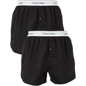 Biancheria Intima  Uomo Boxer Calvin Klein Jeans Boxer in tessuto slim fit con logo in confezione da 2 nero