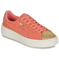 Scarpe Bambina Sneakers basse Puma SUEDE PLATFORM GLAM JR Arancio / Oro