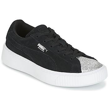 Scarpe Bambina Sneakers basse Puma SUEDE PLATFORM GLAM PS Nero / Argento