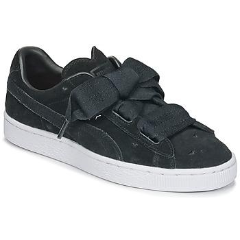 Scarpe Bambina Sneakers basse Puma SUEDE HEART VALENTINE JR Nero