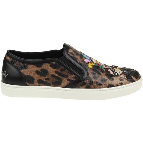 Scarpe Donna Slip on D&G Sneakers slip-on dolce&gabbana donna in pelle leopardata multicolore