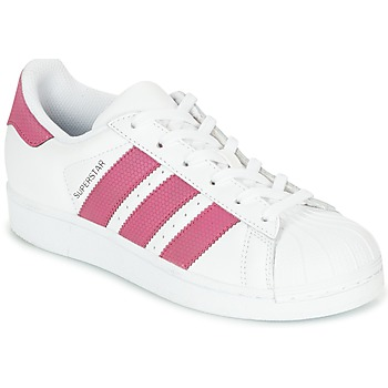 Scarpe Bambina Sneakers basse adidas Originals SUPERSTAR J Bianco / Rosa