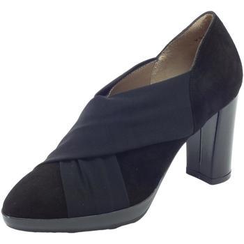 Scarpe Donna Décolleté Melluso Tronchetti in camoscio e tessuto elasticizzato nero tacco alto Nero