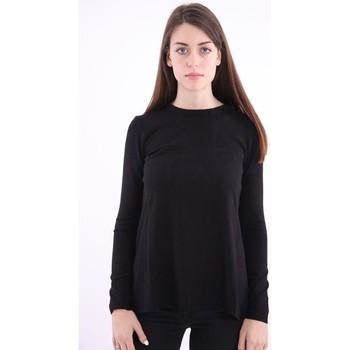 Abbigliamento Donna Maglioni Solo Tre MAGLIA NERA CON SPACCO Black