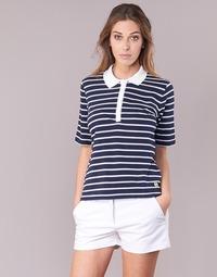 Abbigliamento Donna Polo maniche corte Armor Lux POLAED Marine / Bianco