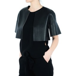 Abbigliamento Donna Gilet / Cardigan Pinko. Erice Shoulder Cover In Faux Leather, No Buttons, Short Sleeve - Nero