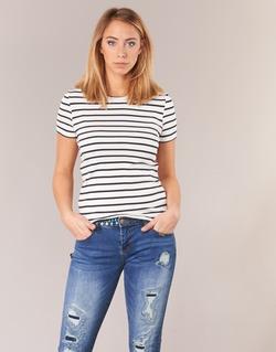 Abbigliamento Donna T-shirt maniche corte Petit Bateau  Bianco / Marine