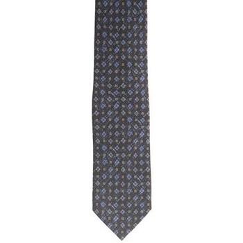 Abbigliamento Uomo Cravatte e accessori Holliday & Brown CRAVATTA IN SETA NERA CON FIORI AZZURRI Black