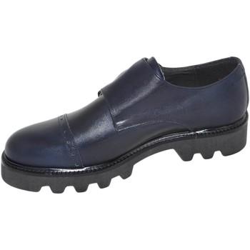 Scarpe Uomo Classiche basse Malu Shoes Calzature uomo art 9677 doppia fibbia vera pelle crust blu fondo BLU