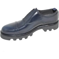 Scarpe Uomo Derby Malu Shoes Calzature uomo art.8293 francesina blu in vera pelle con elasti BLU