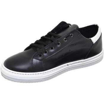 Scarpe Uomo Sneakers basse Malu Shoes Sneakers bassa uomo calzature art:2384 vera pelle bicolore nero NERO