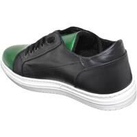 Scarpe Uomo Sneakers basse Malu Shoes Sneakers bassa calzature uomo art:2384 vera pelle bicolore nero NERO/VERDE