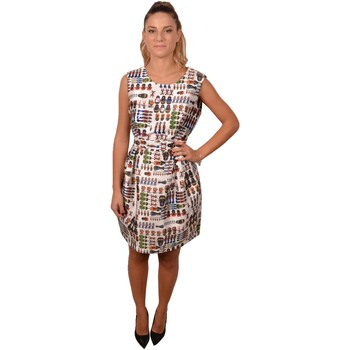 Abbigliamento Donna Abiti corti Allure White Roundneck Short Woman Dress Printed Matrioska Russia Bianco