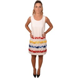 Abbigliamento Donna Abiti corti Allure Woman Short White Roundneck Dress with Flowers Decorations Blue Bianco