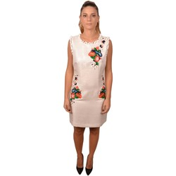 Abbigliamento Donna Abiti corti Allure Woman White Short Dress Roundneck with Embroidered Flowers and Bianco
