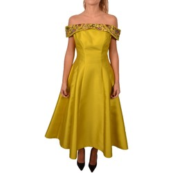 Abbigliamento Donna Abiti lunghi Allure Woman Mustard Yellow Paillettes Flowers Dress<BR/> 226200<BR/> Altri